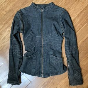 🌹RARE🌹 Shawna Hoffman Denim Moto Jacket Size 4